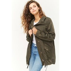 Forever 21 Greek Drawstring Hooded Parka Jacket S